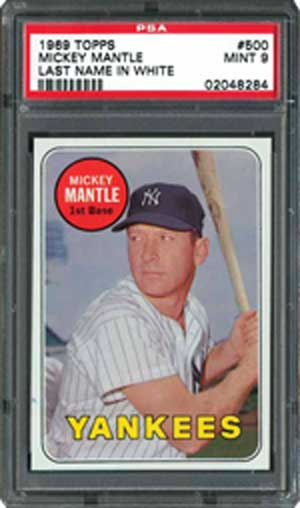 1969 Topps Mickey Mantle Last name in white #500 Card - Mickey Mantle Rookie Card RC Bergen Pickers